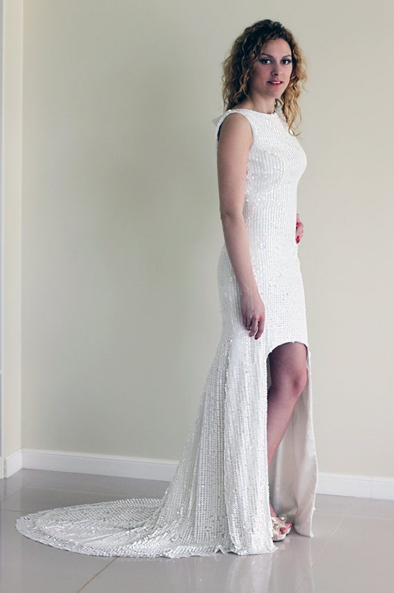 Sequin Wedding Dress White Sequin Dress High-Low Hem Wedding
