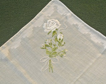 Vintage Ladies Embroidered Floral White Rose Handkerchief from the 50's