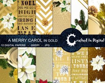 Christmas Carols In Gold - Digital Paper Collection 12x12