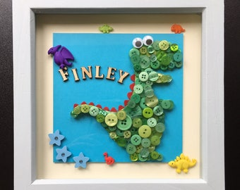 Button Dinosaur/ Animal/ Motif Box Frame