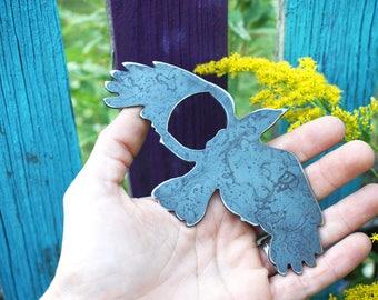 Raven Rustic Raw Steel Recycled Metal Black Bird Crow Industrial Bottle Opener, Travel Gift, wedding favor, Party gift, beer opener