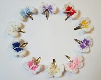 Crochet butterfly clips, crochet hair clips, girls hair accessories, gift for girls, crochet snap clips, butterfly clips, back to school