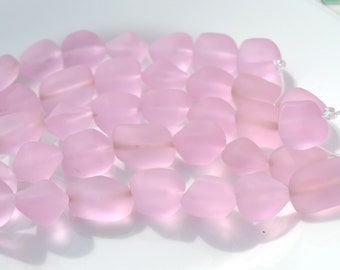 Pink Frosted Glass Nugget Beads   7