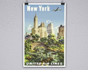 United Airlines Vintage New York Travel Poster Print
