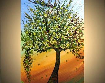 TREE at Sunset 60x36 Original Modern Abstract Landscape Large Painting by Luiza Vizoli