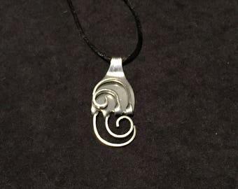 Fork art silverware swirl pendant necklace