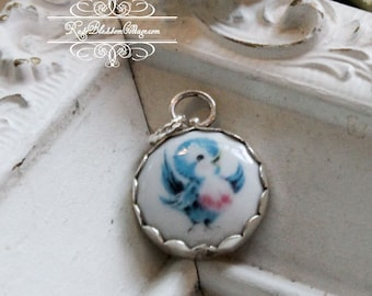 Bluebird of Happiness Sterling Edgeless Porcelain Charm
