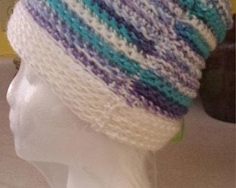 White Multi-Colored Crochet Beanie