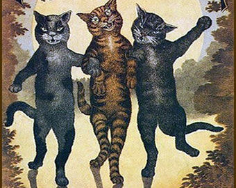 "Black, brown, and tabby kittens polka dance to BUCALOSSI. Antique sheet music cover, Tabby Cat Polka,  11 X 14""  canvas art print"