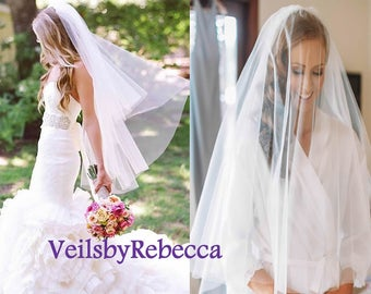 Fingertip Veil-2 tier fingertip tulle veil,simple elbow blusher tulle veil, plain tulle wedding veil, blush champagne tulle bridal veil V603