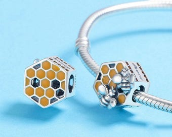 9829f6f58 Honeycomb with honey and bees working with yellow enamel Bee Fit European  Pandora Charm Bracelet Authentic