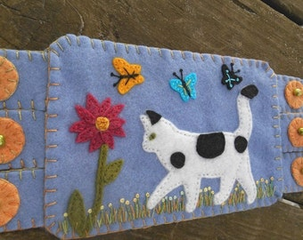 Cat and Dahlia, Kitty Fiber Art, Garden Art, Butterfly Art,  Flower Embroidery, Dahlia, Coffee Coaster, Mug Rug