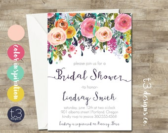 Whimsical Bridal Shower Invitation, peony bridal shower invite, bridal shower, floral bridal shower, watercolor bridal shower invitation