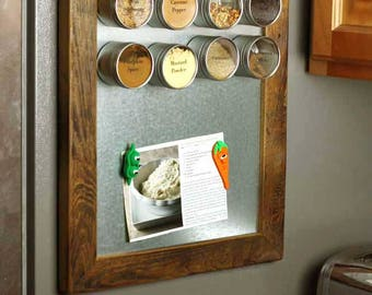 Small Magnetic Memo Board - Rustic Magnetic Message Center - Reclaimed Framed Magnetic Board - Magnetic Organizer