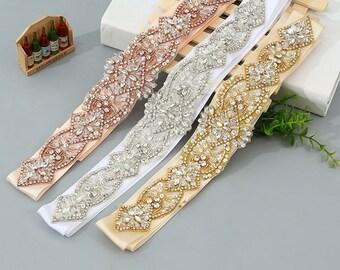 Handmade Rhinestone Crystal Pearl Sequin Bridal Sash / Wedding Sash/ Bridal Belt