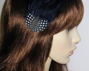 Navy Dark Blue Feather Fascinator HAIR CLIP Bridesmaids Hair Accessory Handmade Wedding 'Gwenand#039;