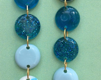 Resin Round Statement Earrings - Blue Mix