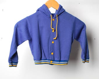 SOFT baby HOODIE childrens vintage sweatshirt TRACK jacket blue & yellow hooded top