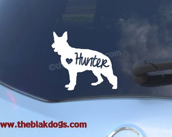 German Shepherd Silhouette Vinyl Sticker Car Decal Personalized