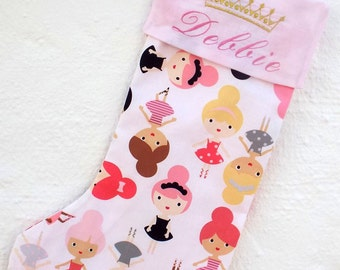 Personalized Christmas Princess Stocking - Princess - Golden Princess crown - Girl's Christmas Stocking