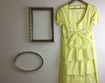 Vintage Women's Yellow Full Length Short Sleeve Bride's Maid Formal Dress