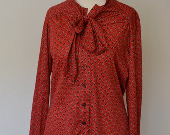 Vintage retro red blouse, size 10-12