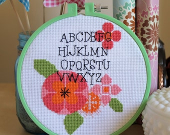 Counted Cross Stitch - Modern Flower Alphabet Sampler - Instant Download PDF Pattern