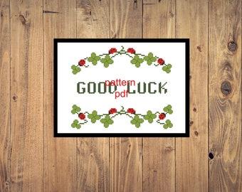 good luck modern cross stitch pattern pdf clover embroidery cross stitch Pattern Download PDF Instant Download digital pdf embroidery file