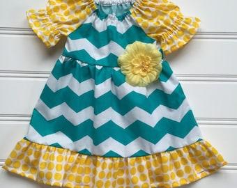 Baby Girl Dress, Baby Party Dress, Girl Summer Dress, Toddler Girl Dress, Little Girl Dress, Toddler Summer Dress, Teal Dress, 12, 18 months