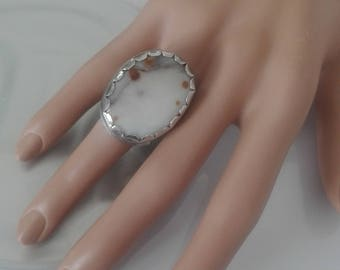 Silver Agate Ring, White Stone Ring, Natural Polka Dot Agate, Ring Size 7, Agate Ring, White Agate, Agate Stone, Large Stone Ring