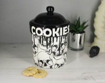 Skull storage jar,  biscuit barrel, cookies, hand painted canister, large pot, kitchen flour pot, weird wonderful skulls, black and white