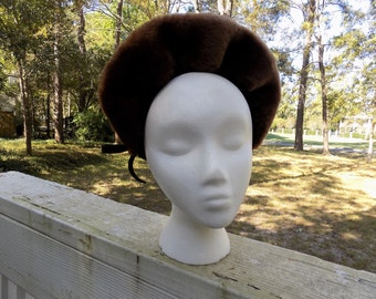 Vintage 40's Mouton Wool Felt Crown War Bride WWII Brown Cap Hat Winter Holiday
