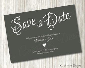 Modern Grey Save The Date Invitation, Charcoal Gray, Wedding Printable, Save The Date Invitation, Printable Invitation, Digital File