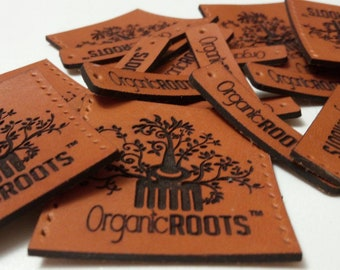 Custom Leather Labels with your logo, any text, customized size, Personalized Stamped Tag for Handmade Business, True Leather Patch Engraved