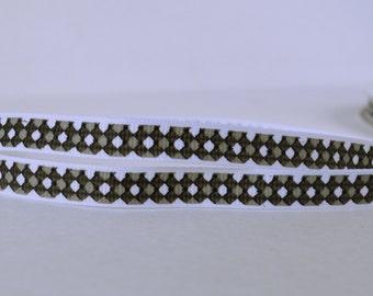 """20 YD Gray Black White Diamond Checkered Pattern 3/8"""" Wide Printed Grosgrain Ribbon Az529"""