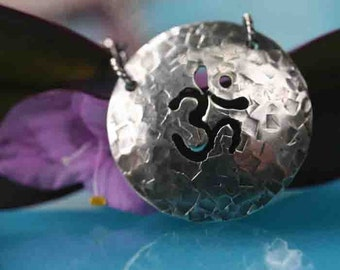 Om Circle on Sterling Chain Oxidized
