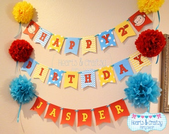 Curious George Birthday Happy Birthday Banner / Curious George Birthday Party - FILE to PRINT DIY