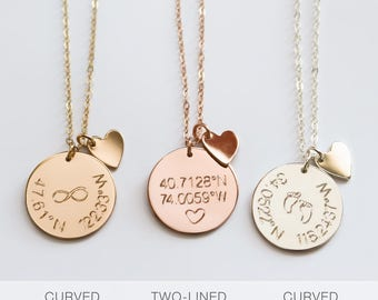 Coordinates Disc Necklace, Coordinates Disk Necklace, Latitude & Longitude, Location GPS, Custom Coordinates, by ziime Jewelry ZN00220