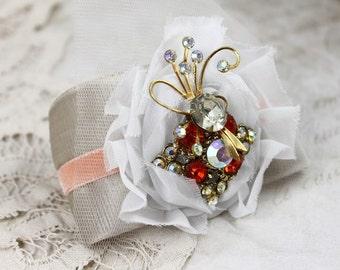 Vintage Jeweled Velvet Cuff Bracelet , Repurposed Fire Orange Rhinestone Brooch, Velvet Bridal Cuff,  Wide Fabric Cuff Bracelet