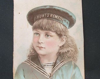 Hunt's Remedy Victorian 1883 Advertising Trade Card.