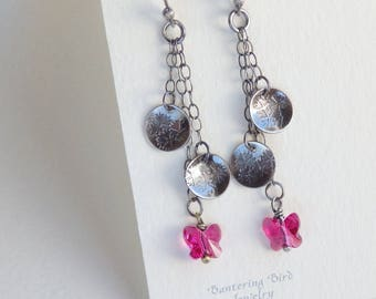 Butterfly Earrings, Long Sterling Silver Dangle on Chain, Hot Pink Fuschia Swarovski Crystal and Flower Charms, Mother's Day Gift