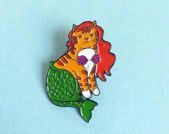Mermaid Cat Enamel Pin  Cat Pin Mercat  enamel pin - cat mermaid - Mermaid  pin - Cute Cat enamel Pin - lapel pin hat pin