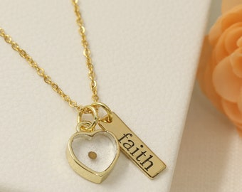 Mustard Seed Necklace - Faith Necklace - Inspirational Christian Gift - Faith as small as a mustard seed - mustard seed jewelry -