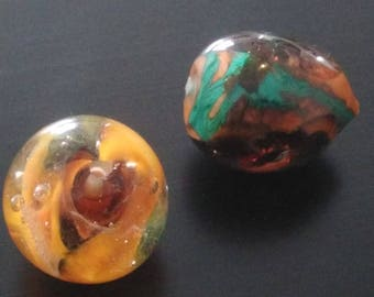 Duo beads - combination of sunny colors: yellow and Brown
