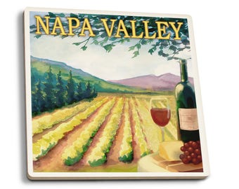 Napa Valley, CA - Wine Country - LP Artwork (Set of 4 Ceramic Coasters)