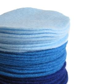 "150 pcs, 3"" Blue Felt Circles in Baby Blue, Ombre Blue, Royal Blue"