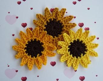 3 sunflower crochet cotton flowers