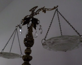 Vintage Antique Scale of Justice Metal with Glass Plates and Crystals-Decoration/Centerpiece