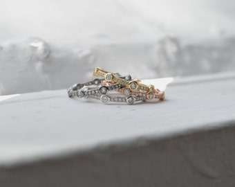 Stackable Rose Gold Ring - Sterling Silver Stacked Ring - Micro Pave Ring - Thin Wedding Band - CZ Stacking Ring - 2mm Thin Silver Ring