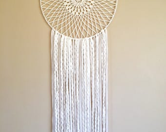 Large White dreamcatcher crocheted wall hanging